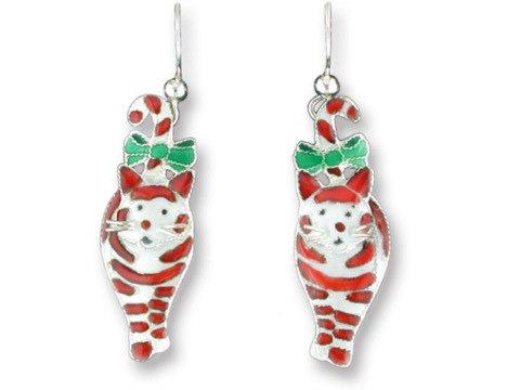 Candy Cane Cat Sterling Silver & Enamel Earrings