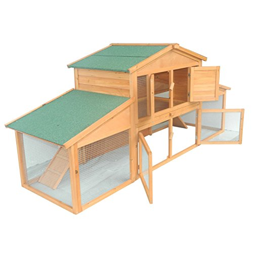 Pawhut-91-Deluxe-Large-Wooden-Bunny-Rabbit-Hutch-Chicken-Coop-w-Large-Out