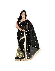 Murli Manohar Fashion Women's Chiffon Lace Black Saree