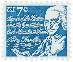 #1393D - 1972 7c Benjamin Franklin Postage Stamp Numbered Plate Block (4)