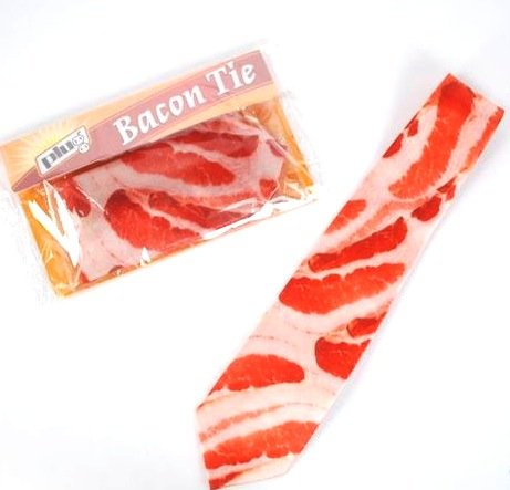Men's Bacon Meat Tie / Necktie, Novelty Gag Gift, 54 Inches