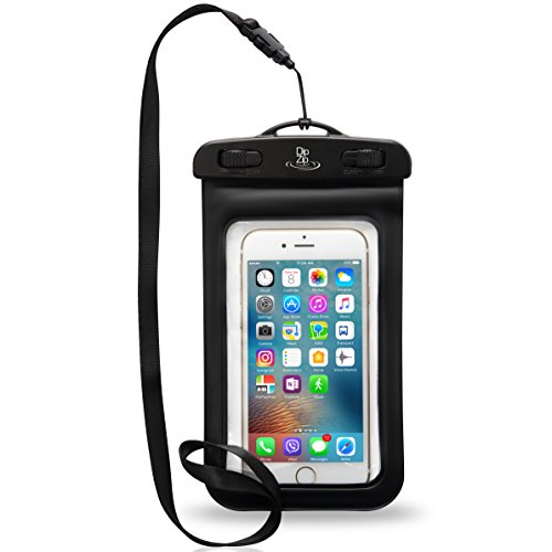 Universal Waterproof Case for iPhone 6/6s 7 5S SE Samsung Galaxy Edge Note S7 S6 Sony HTC, up to 6.0 inches - Black Dry Bag Fits Boating, Swimming, Fishing, Surfing - DipZip safe Passport and Money (Passport Edge compare prices)