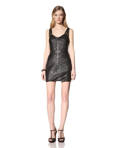 Parker Women's Strappy Leather and Mesh Dress  - Black
