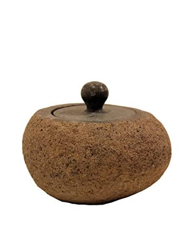 Asian Loft Carved Riverstone Jar with Lid, Grey