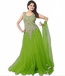 Clickedia Women Soft Net Dark Green Embroidered Gown