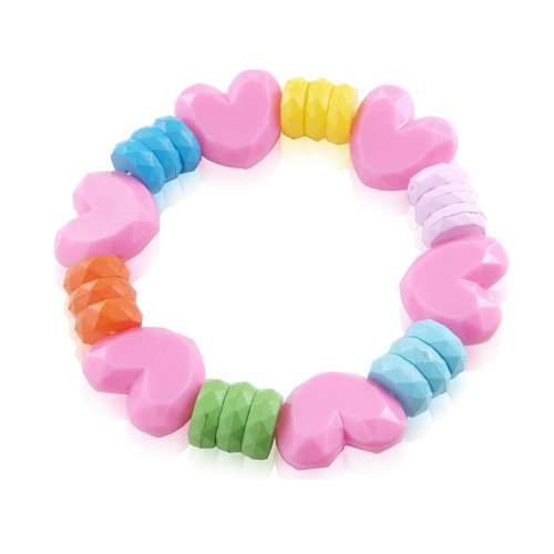 Childrens Pink Jewellery - Cute Pink Heart Bracelet with Coloured Sweetie on a stretch Bracelet with present bag