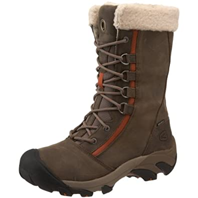 KEEN Women's Hoodoo Waterproof Faux Shearling Winter Boot,Brindle/Rust,6 M US