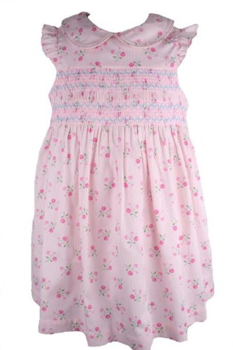 Laura Ashley Baby Girls Pink Floral Print Smocked Sundress-12 Months