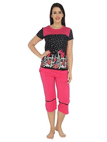 Valentine-Womens-Winterwear-Round-Neck-Top-Capri-Set-Pink