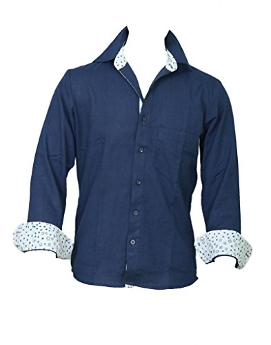 Chhipa Men 100% Cotton Hand Printed Navy Blue Shirt