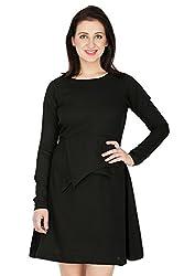 Wintage Women Boat Neck Full Sleeves Black Solid Mini Skater Dress