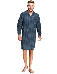 Pure Cotton Winceyette Striped Nightshirt