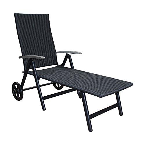 Alu-Sonnenliege-Gartenliege-Rattanliege-Rollliege-Relaxliege-Rollenliege-Liege