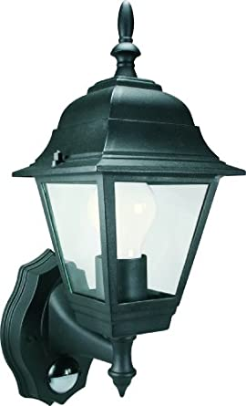 Byron Elro ES94 GLS / 23W ES 4-Panel Wall Lantern with PIR Motion Detector Black,100w