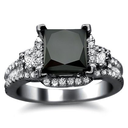 2.81ct Black Princess Cut Diamond Engagement