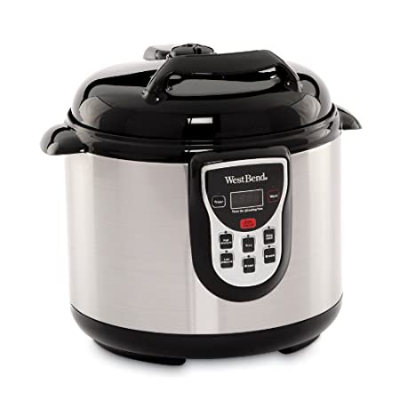 West Bend stainless pressure cooker, 6-quart round cooking pot with non-stick interior and exterior, multifunctional adjustable setting controls includes high or low, slow cooking, steaming or browing, perfectly cooks rice, warm setting for serving a...