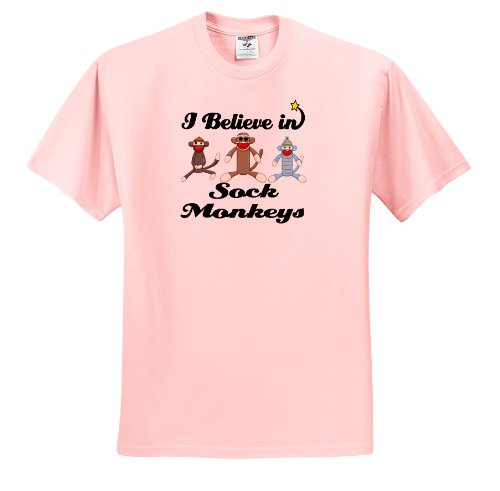 Dooni Designs I Believe In Designs - I Believe In Sock Monkeys - T-Shirts - Adult Light-Pink-T-Shirt XL
