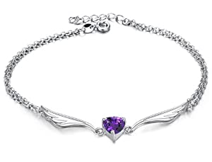Anklet Ankle Bracelet Angel Wings and 1.5 Carats Purple Heart Cubic Zirconia Crystal, 8.5 to 9.5 In. Long