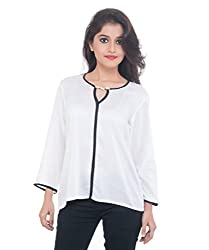 Lal Chhadi Girls 3/4 Sleeve Rayon's White Short Top