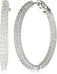 "CZ by Kenneth Jay Lane ""Classic Cubic Zirconia"" Rhodium-Plated Pave In- and -Out Hoop Earrings, 6 CTTW"