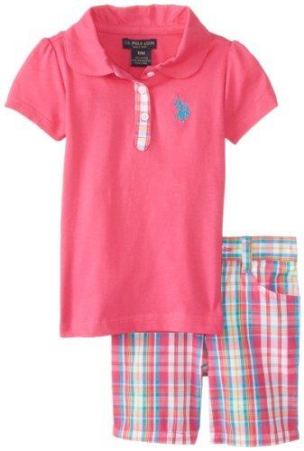 U.S. Assn.-Polo da bambina, Set da 3 pezzi per bambini-Maglietta e pantaloncini, colore: rosa a scacchi, Kite, 12 mesi, colore: rosa, taglia: 12 mesi-Aquilone monofilo per bambini, motivo: Baby, bambino