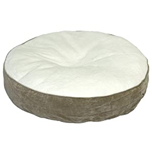 Happy Hounds Scout Deluxe Round Dog Bed, Extra Small 24-Inch, Birch/Sherpa