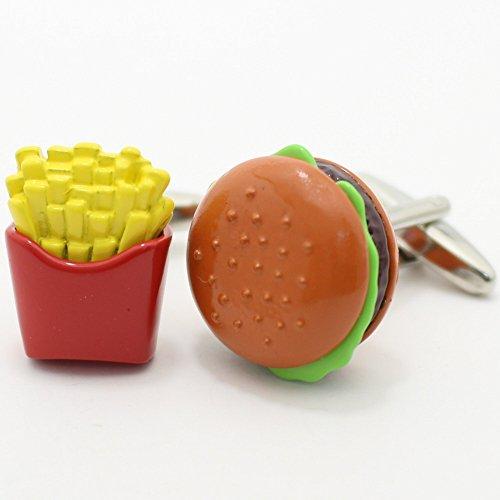 【カフスマニア】食べ過ぎ注意フライドポテトとハンバーガーのカフス(カフリンクス/カフスボタン)