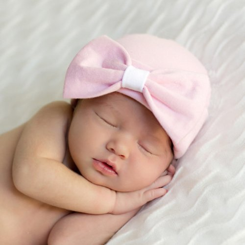 Melondipity Girls Organic Pink Big Bow Newborn Hospital Beanie Baby Hat