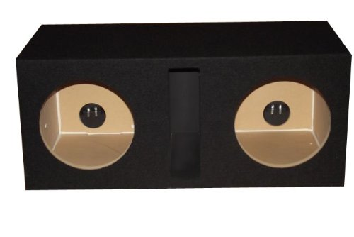 "R/T - Black Dual 10"" Slot Vented Sub Bass Hatchback Speaker Box With Labyrinth Power Port (Mdf)"