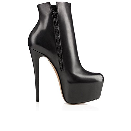 Women's Round Toe Platform Stiletto High Heels Dress Ankle Boots