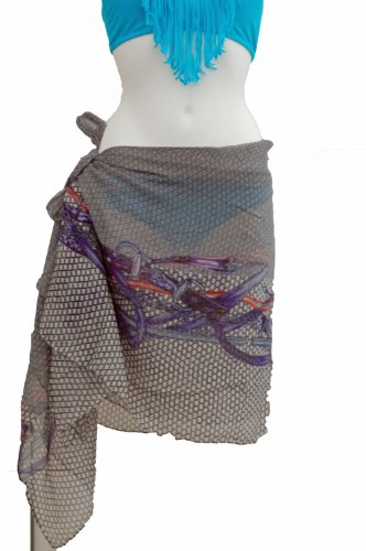 Tamari Grey Scale Print Sarong Beach Cover Up Wrap Dress For Women One Size