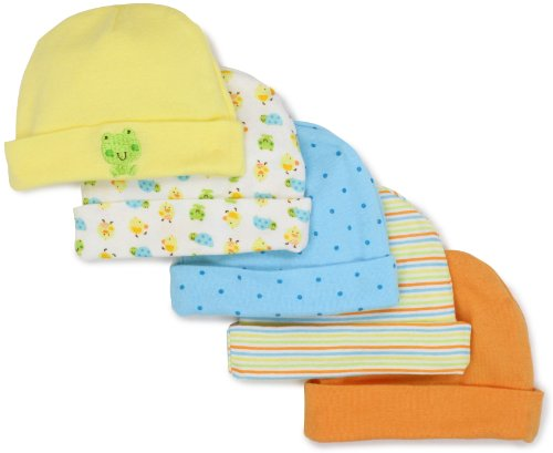 Gerber Unisex-Baby  Frogs And Ducks 5 Pack Cap, Yellow/White, 0-6 Months
