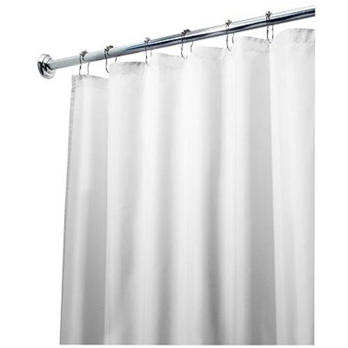 InterDesign 96-Inch Fabric Waterproof Extra Long Shower Curtain Liner, White (Long Shower Curtain compare prices)