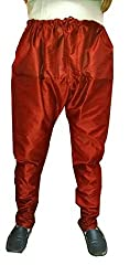 Shahana Men's Silk Blend Pyjama (churidarpyjamamaroon_Red_Free Size)