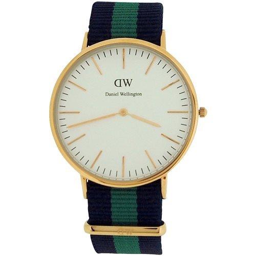 Daniel Wellington para hombre con esfera de color blanco o de cuarzo, azul y verde correa de Nylon de reloj 0105DW