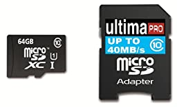 Memzi 64GB Class 10 40MB/s Ultima Pro Micro SDXC Memory Card with SD Adapter for Samsung Galaxy Tab 3 or Tab 4 10.1, 8.0, 7.0 Tablet PC\'s