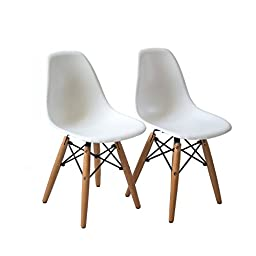 Bushman Kids Eames Style Retro Modern Colorful Dining Room Mid Century Shell Chair Metal, Natural Wood Dowel Leg Base Plastic Molded Armless, No Arms Children Designer Side Chairs, Set of Two, White
