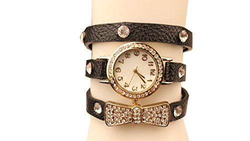 Generic Crystal Imitation Leather Bracelet Watch Bow-Knot Quartz Wristwatch For Women Lady Girl (Black)