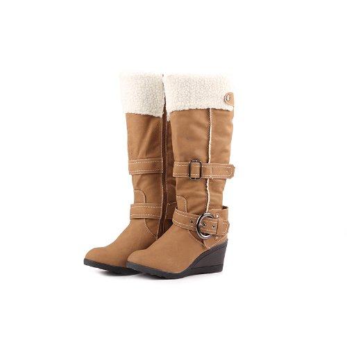 Reneeze K-ADDIE-1 Kids Wedge Mid-Calf Winter Boots- Camel