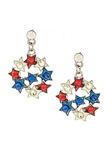 Patriotic Crystal Accent Star Cluster Fireworks 316L Surgical Steel Fashion Earrings (Silver) (Gem Cluster 16g compare prices)