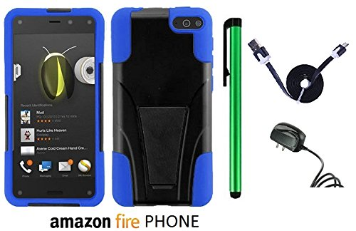 Amazon Fire Phone Premium Design Hybrid T-Stand, Flex Skin And Polycarbonate Hard Cover With Kickstand (Us Carrier: At&T; Released In July 2014) + Travel (Wall) Charger + 1 Of 1M/3Feet Stylish Micro Usb To Usb 2.0 Data Sync Charger Flat Cable + 1 Of New A front-1016048