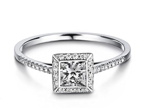0.62 Carat Cheap Diamond Engagement Ring with Princess cut Diamond on 14K White gold