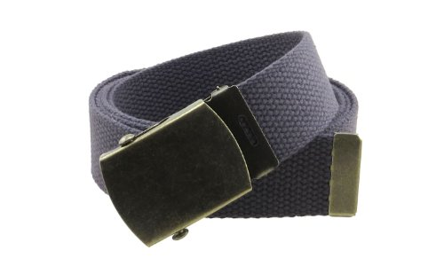 """Canvas Web Belt Military Style with Antique Brass Buckle and Tip 50"""" Long (Charcoal)"""