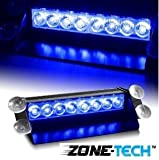 Zone Tech 8 LED Visor Dashboard Emergency Strobe Lights Blue