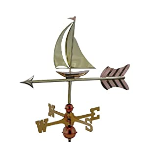 """10"""" Grand Luxury Handcrafted Polished Copper Sailboat Garden Weathervane"""