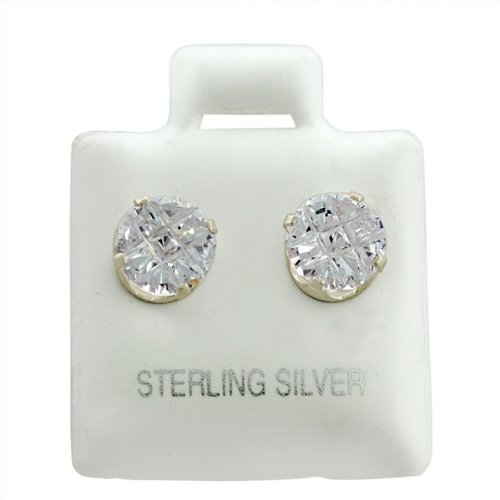 Sterling Silver Round Invisible Clear CZ Studs 5mm Earings