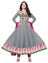 Inddus Women Grey Georgette Embroidered Dress Material