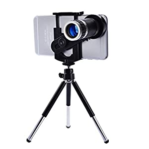 Compatible with iPhone Samsung HTC Nokia Lenovo LG Huawei etc Instantly converts your mobile phone into a telescope New design of 8X zoom lens with attractive appearance, portable for travel Good for color reduction producing high quality pho...