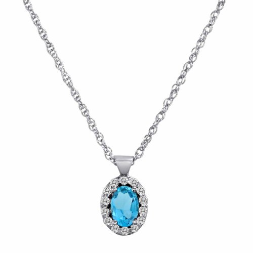 DivaDiamonds 14ct White Gold Oval Blue Topaz and Diamond Pendant w/18 Inch Solid White Gold Chain (3/4 cttw, F-G, VS)
