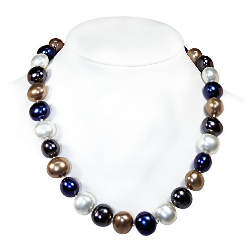 Mother of Pearl Necklace 13mm x 15mm Navy Mix [Jewelry]